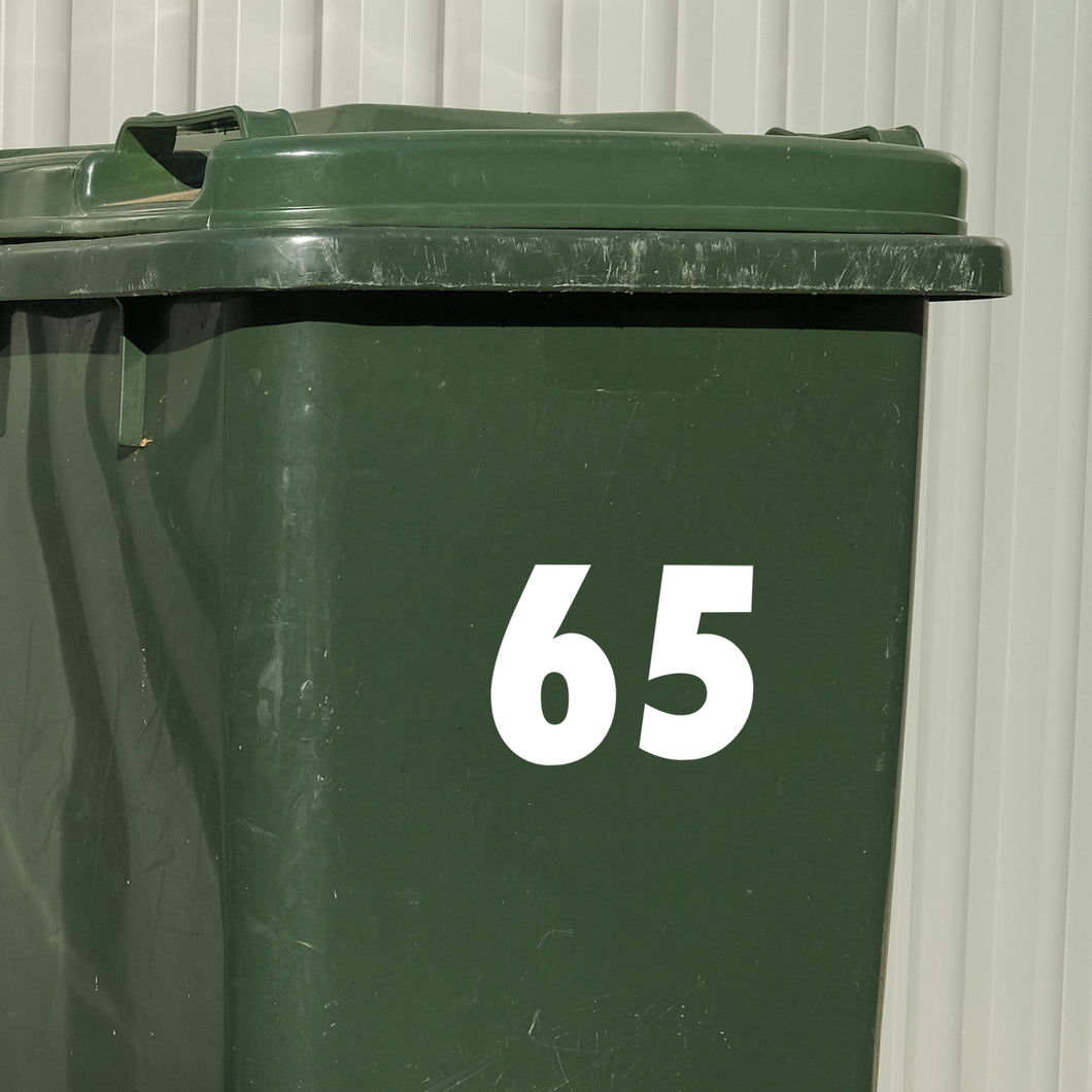 Wheelie Bin House Number Decal Sticker