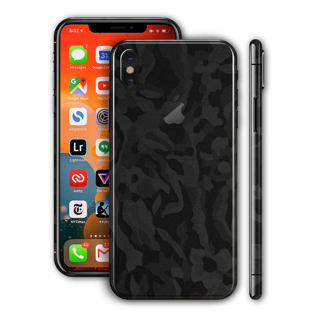 iPhone XS Shadow Black Camo 3D Textured Skin