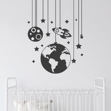 Load image into Gallery viewer, Space Mobile Wall Decal for Childrens Room
