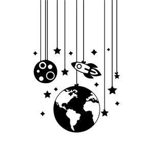 Space Mobile Wall Decal for Childrens Room