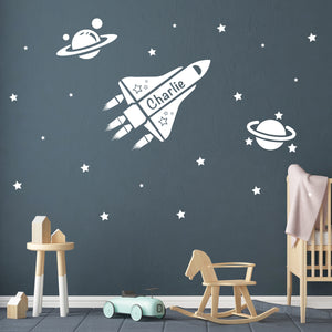 Spaceship Wall Decal for Boys Room