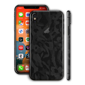 iPhone X Black Camo 3D Textured Mobile Skin
