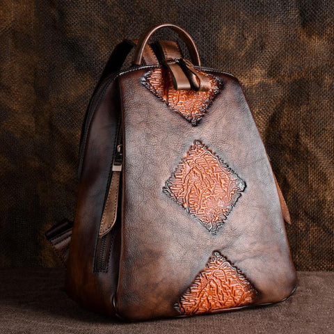 EMBOSSED DESIGN - LEDERRUCKSACK DAMEN