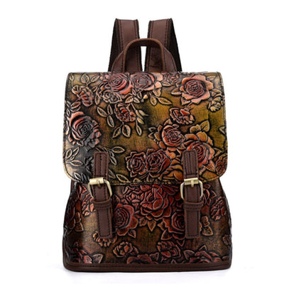 Rose Pattern - Lederrucksack Damen