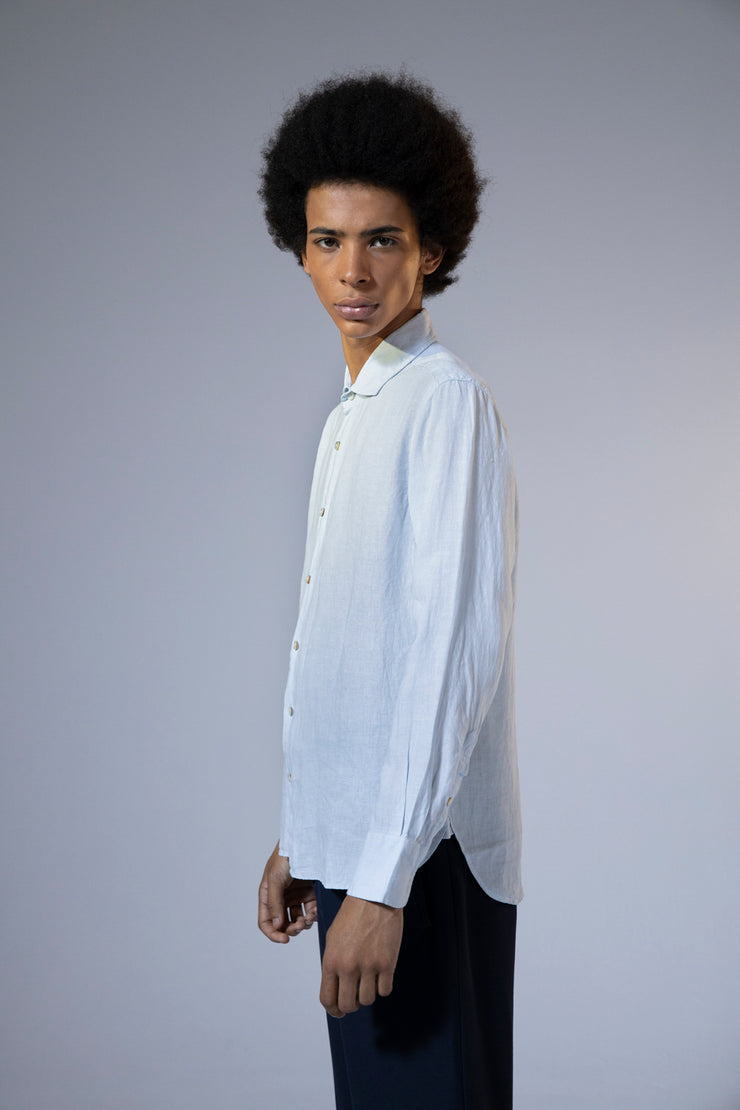 unfeigned long sleeve shirt style 2 linen ballad blue