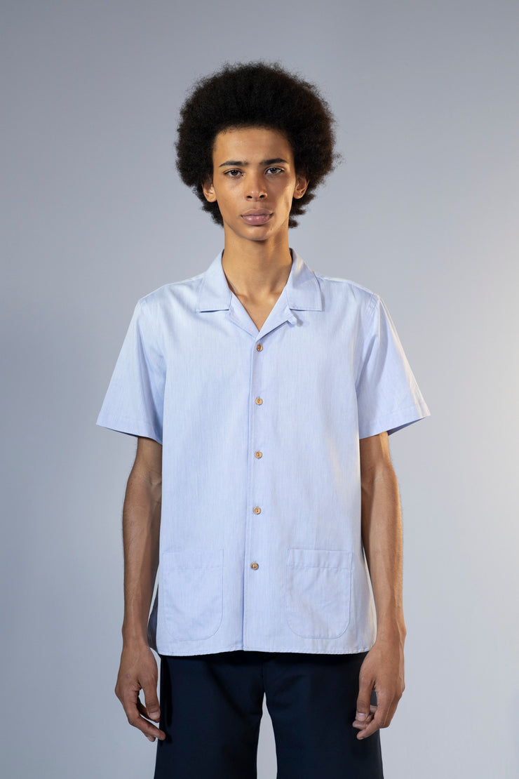 unfeigned short sleeve shirt style 1 peach skin light blue