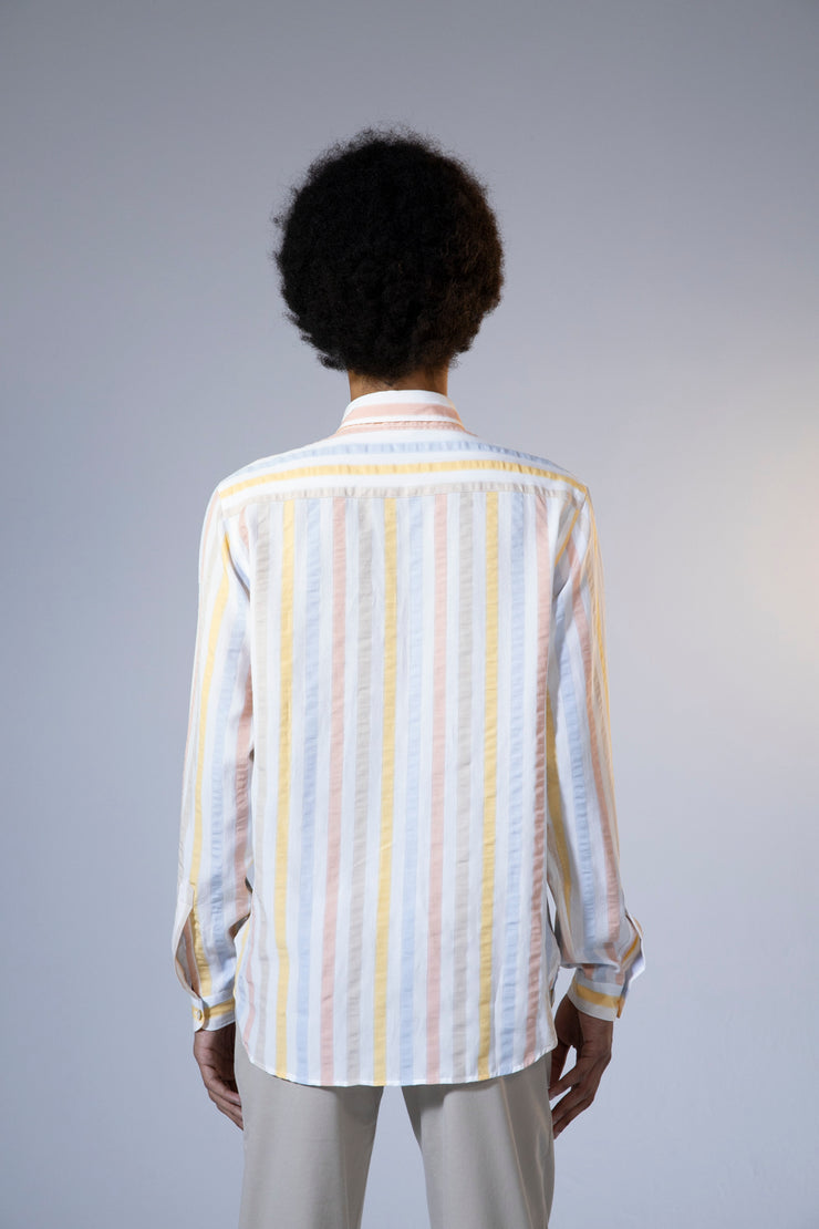 unfeigned long sleeve shirt style 3 colorful stripes
