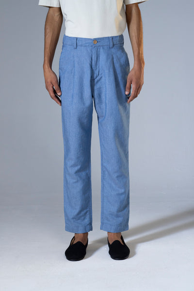 unfeigned wide tapered tencel pants blue marine