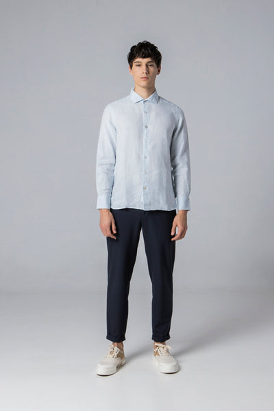 long sleeve shirt style 2 linen ballad blue