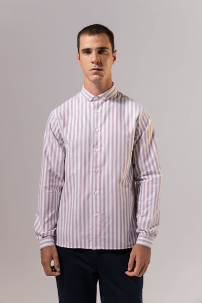 unfeigned long sleeve shirt style 3 wide stripes burgundy