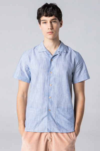 short sleeve shirt style 1 blue stripes