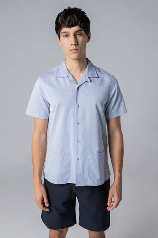 short sleeve shirt style 1 peach skin light blue