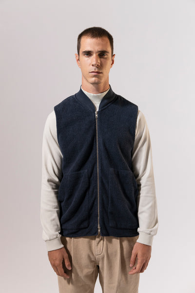 unfeigned winter vest blue graphite