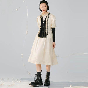 Patchwork Casual Style 2020 Winter Hit Color Pleated Casual Style Dress