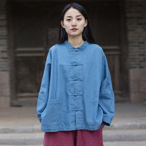 Women Denim Jackets Vintage Stand Bat Sleeve Solid Color Coats