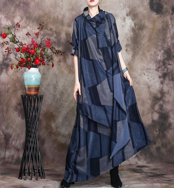 Plus Size Patchwork Dresses Female 2020 Autumn Spring Dress