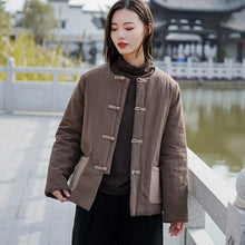 Load image into Gallery viewer, Autumn Winter Retro Plate Buckle Patchwork Pocket Thick Warm Cotton Parka