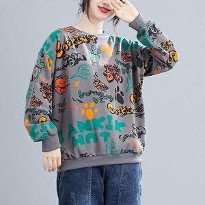 Print O-neck Loose Female Long Sleeve Cotton Tops