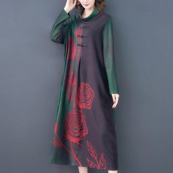 vintage floral for women casual loose autumn winter dress