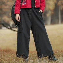 Load image into Gallery viewer, Omychic Cotton Linen Winter Wide Leg Pants Elastic Waist Solid Color Trouser