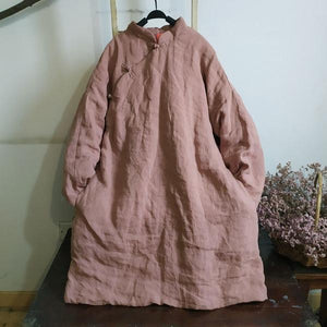 Women Chinese Style Parkas Coats Warm Female Clothes A-Line Parkas