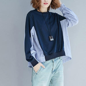 New 2020 Simple Style Patchwork Striped Loose Comfortable Female Pullovers Tops