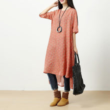 Load image into Gallery viewer, Retro Printing Side Slit Short Sleeves Linen Orange Red Women Dress