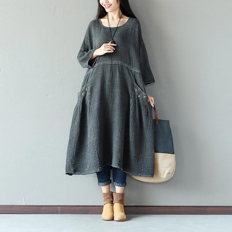 Retro String Pocket Women Dark Gray Dress
