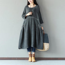 Load image into Gallery viewer, Retro String Pocket Women Dark Gray Dress