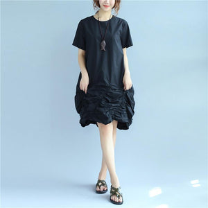 Cotton Women Loose Folded Summer Irregular Black Dress