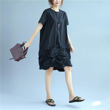 Laden Sie das Bild in den Galerie-Viewer, Cotton Women Loose Folded Summer Irregular Black Dress