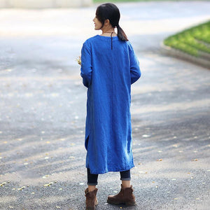 Vintage Women Loose Long Sleeve Split Blue Dress