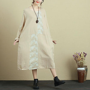 Women Round Neck Long Sleeve Casual Loose Beige Dress