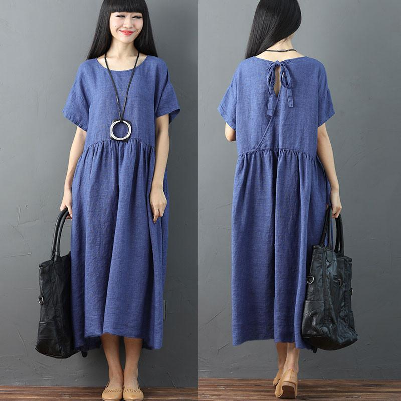 Casual Round Neck Short Sleeves Pleated Loose Women Blue Dress