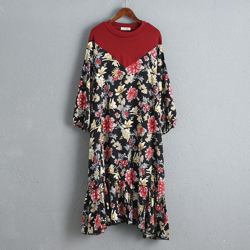 Splicing Women Dress Printed Floral Summer Dress