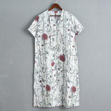 Load image into Gallery viewer, Casual Short Sleeve Linen Loose Printing Dress