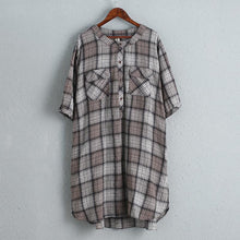 Load image into Gallery viewer, Women Cotton Linen Dress Casual Plaid Dress