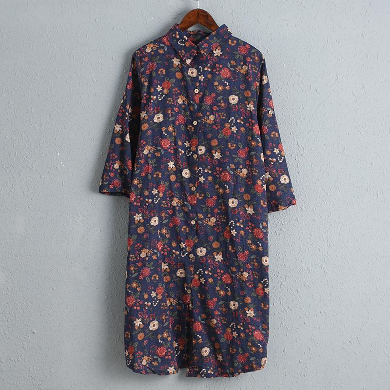 Women Printed Floral Dress Three Quarter Sleeve Shirt