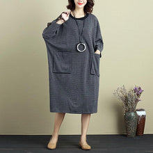 Load image into Gallery viewer, Women Round Neck Shoulder Sleeve Gray Black Stripe Dress