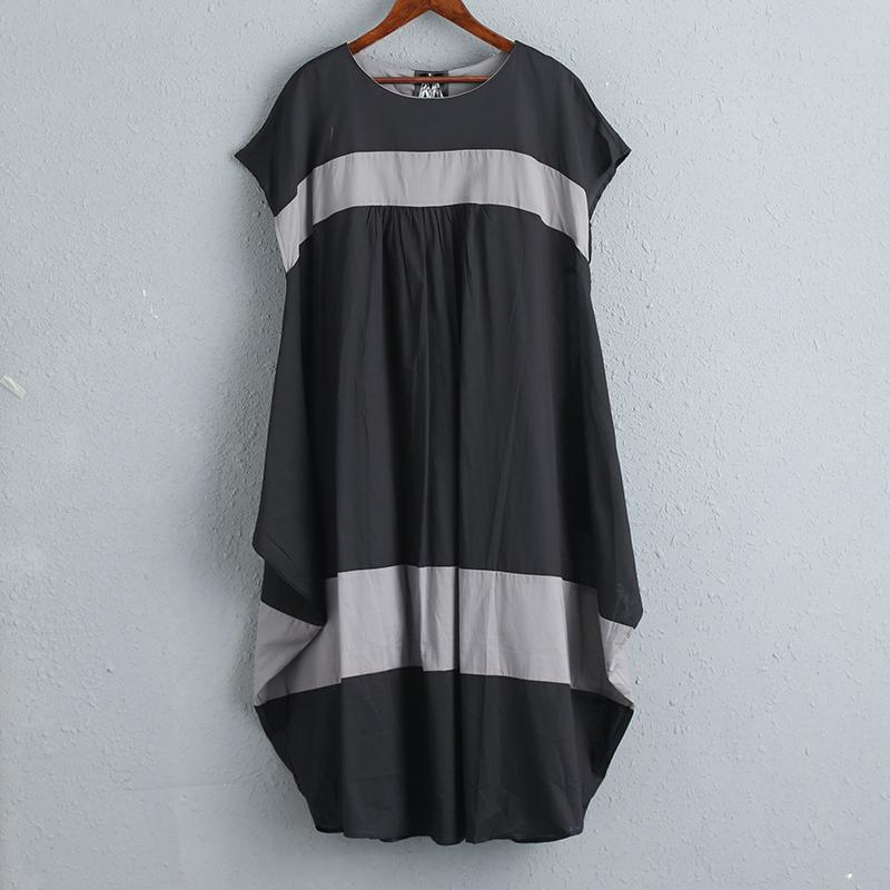 Women Summer Casual Short Sleeves Stripe Dress