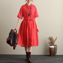 Load image into Gallery viewer, Stylish Hollowed Single Breasted Short Sleeves Ramie Pure Red Women Dress