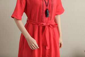 Stylish Hollowed Single Breasted Short Sleeves Ramie Pure Red Women Dress