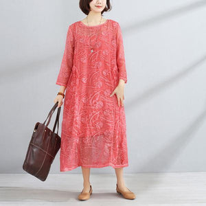 Spring Women Round Neck Three Quarter Sleeve Dress