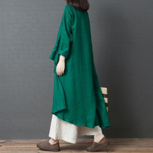 long sleeve cotton linen plus size vintage women casual loose spring autumn elegant shirt dress clothes