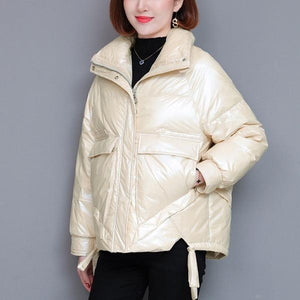 Short White Duck Down Women Jacket Coats Girls Thinck Warm Snow Wear Outdoor Clothing