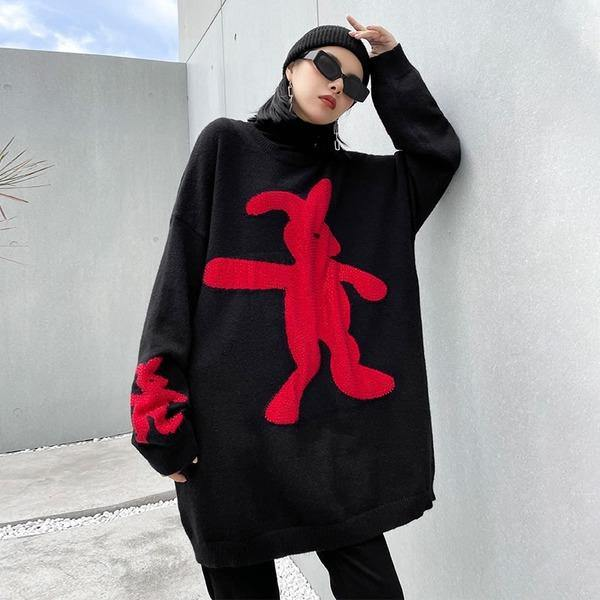 Knitting Splicing Paste Drill Sweater Winter New Cartoons Contrast Color Loose Casual O Neck Collar Pullover Women