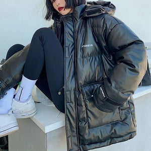 Winter New Loose Hooded Collar Keep Warm Coat Fashion All-match