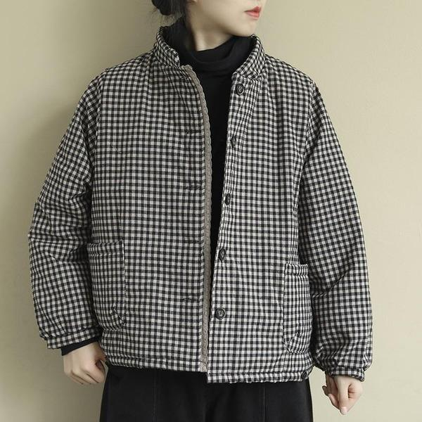 Women Vintage Plaid Parkas Button Cotton Blend Stand Pockets
