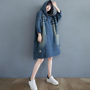 Winter Korean Vintage Style Loose Female Knee-length Jean Dresses