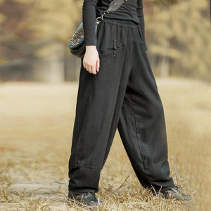 Women Black Chinese Style Wide Leg Pants Button Pockets Thick Warm Elastic Waist Trouser